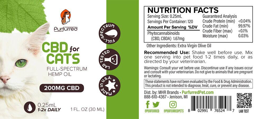 CBD Oil for Cats Label